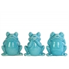 Ceramic Sitting Frog No Evil (Hear/Speak/See) Figurine Assortment of Three Gloss Finish Blue