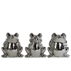 Ceramic Sitting Frog No Evil (Hear/Speak/See) Figurine Assortment of Three Polished Chrome Finish Silver