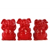 Ceramic Standing Pig No Evil (Hear/Speak/See) Figurine Assortment of Three Gloss Finish Red