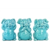 Ceramic Standing Pig No Evil (Hear/Speak/See) Figurine Assortment of Three Gloss Finish Turquoise