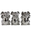 Ceramic Standing Pig No Evil (Hear/Speak/See) Figurine Assortment of Three Polished Chrome Finish Silver