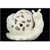 Ceramic Snail Figurine with Cutout Design Gloss Finish White