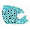 Ceramic Fish Figurine Looking Up with Cutout Design Gloss Finish Turquoise
