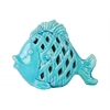 Ceramic Fish Figurine with Diagonal Cutout Design Gloss Finish Turquoise