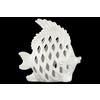 Ceramic Angel Fish Figurine with Diagonal Cutout Design Gloss Finish White