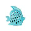 Ceramic Angel Fish Figurine with Diagonal Cutout Design Gloss Finish Turquoise