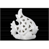 Ceramic Fish Figurine with Perforated Design on Seaweed Base Gloss Finish White