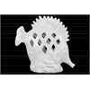 Ceramic Fish Figurine with Erect Dorsal Fins and Perforated Design on Seaweed Base Gloss Finish White