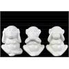 Ceramic Standing Monkey No Evil (Hear/Speak/See) Figurine Assortment of Three Gloss Finish White