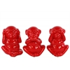 Ceramic Standing Monkey No Evil (Hear/Speak/See) Figurine Assortment of Three Gloss Finish Red