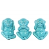 Ceramic Standing Monkey No Evil (Hear/Speak/See) Figurine Assortment of Three Gloss Finish Turquoise
