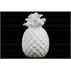 Ceramic Pineapple Figurine with Embossed Lattice Design Gloss Finish White
