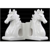 Ceramic Horse Head on Base Bookend Set of Two Gloss Finish White