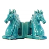 Ceramic Horse Head on Base Bookend Set of Two Gloss Finish Turquoise
