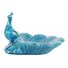 Ceramic Peacock Figurine with Open Plumage Platter Distressed Gloss Finish Turquoise