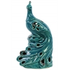 Ceramic Peacock Figurine with Cutout Plumage Design Distressed Gloss Finish Turquoise
