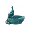 Ceramic Bird Feeder with Bird Figurine Mounted Distressed Gloss Finish Turquoise