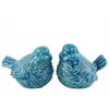 Ceramic Bird Figurine Assortment of Two Gloss Finish Turquoise