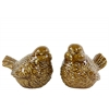 Ceramic Bird Figurine Assortment of Two Gloss Finish Brown