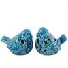 Ceramic Bird Figurine with Cutout Design Assortment of Two Gloss Finish Turquoise