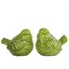 Ceramic Bird Figurine Assortment of Two Gloss Finish Apple Green