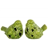 Ceramic Bird Figurine with Cutout Design Assortment of Two Gloss Finish Apple Green