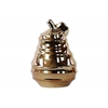 Ceramic Pear Figurine with Spiral Ripple Design Polished Chrome Finish Gold