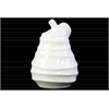 Ceramic Pear Figurine with Spiral Ripple Design Gloss Finish White