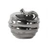 Ceramic Apple Figurine with Spiral Ripple Design Polished Chrome Finish Silver