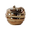 Ceramic Apple Figurine with Spiral Ripple Design Polished Chrome Finish Gold