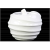 Ceramic Apple Figurine with Spiral Ripple Design Gloss Finish White