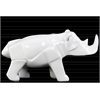 Ceramic Polygonal Standing Rhinoceros Figurine Polished Gloss Finish White