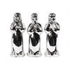 Ceramic Standing Monk No Evil (Hear/Speak/See) Figurine Assortment of Three Polished Chrome Finish Silver