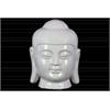 Porcelain Buddha Head with Rounded Ushnisha Gloss Finish White