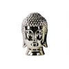 Ceramic Buddha Head with Rounded Ushnisha Polished Chrome Finish Champagne