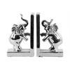Ceramic Standing on Two Legs Trumpeting Elephant Bookend on Base Assortment of Two Polished Chrome Finish Silver