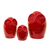 Ceramic Owl Figurine Set of Three Gloss Finish Red