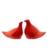 Ceramic Bird Figurine Set of Two Gloss Finish Red