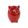Ceramic Standing Owl Figurine LG Gloss Finish Red