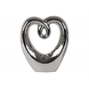 Ceramic Heart  Abstract Sculpture on Base LG Polished Chrome Finish Silver