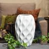 Ceramic Round Vase with Tapered Bottom and Embossed Wave Design Matte Finish White