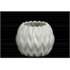 Ceramic Round Low Vase with Uneven Lip and Embossed Wave Design SM Matte Finish White