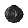 Ceramic Round Low Vase with Round and Small Lip, and Embossed Wave Design Matte Finish Black