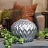 Ceramic Round Low Vase with Round Lip and Embossed Wave Design Matte Finish Silver