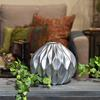 Ceramic Round Low Vase with Round and Small Lip, and Embossed Wave Design Matte Finish Silver