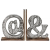 "Metal Alphabet ""@&"" Bookend with Weathered Wood Base Assortment of Two Electroplated Finish Silver"
