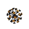 Metal Sea Urchin Ornamental Sculpture Decor Semi-Circle Tip SM Coated Finish Black