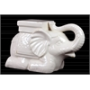 Ceramic Laying Trumpeting Elephant Figurine with Mountable Flat Top Distressed Gloss Finish White