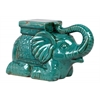 Ceramic Laying Trumpeting Elephant Figurine with Mountable Flat Top Distressed Gloss Finish Blue