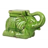 Ceramic Laying Trumpeting Elephant Figurine with Mountable Flat Top Distressed Gloss Finish Green